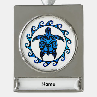 Blue Tribal Turtle Sun Silver Plated Banner Ornament