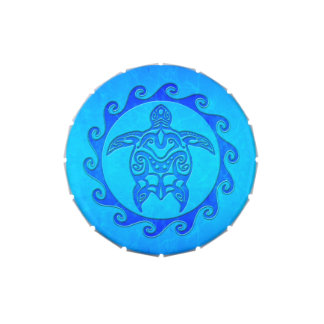 Blue Tribal Turtle Sun Jelly Belly Candy Tin