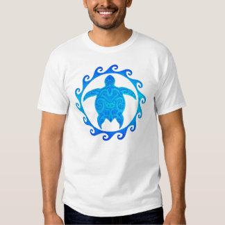 Blue Tribal Turtle Sun T Shirt
