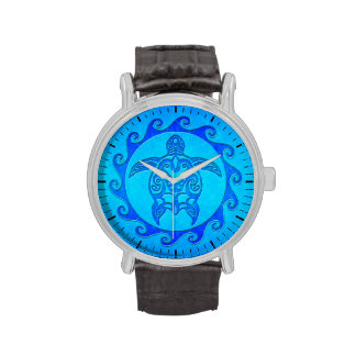 Blue Tribal Turtle Sun Wrist Watches