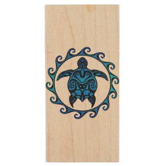 Blue Tribal Turtle Sun Wood USB 2.0 Flash Drive