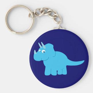 Blue Triceratops Dinosaur Basic Round Button Key Ring