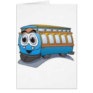 Blue Trolley Cartoon Greeting Card