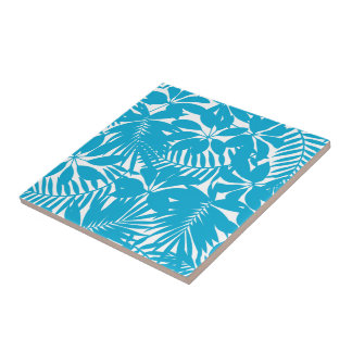 Blue tropical ceramic tile