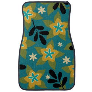 Blue Tropical Floral Hawaiian Car Mat