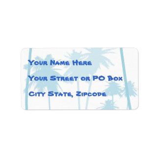 Blue Tropical Palm Tree Wedding Address Label