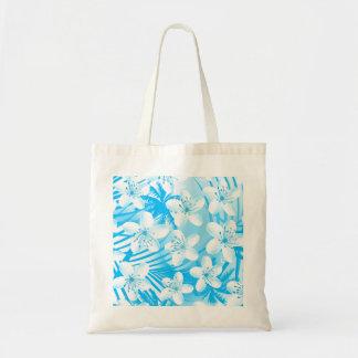Blue tropical palm trees tote bag