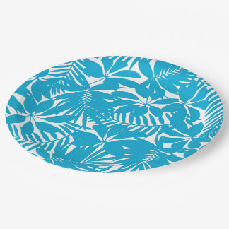 Blue tropical paper plate