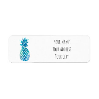 blue tropical pineapple return address label