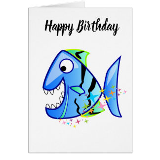 Blue Tropical Piranha with stars Card