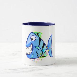Blue Tropical Piranha with stars Mug