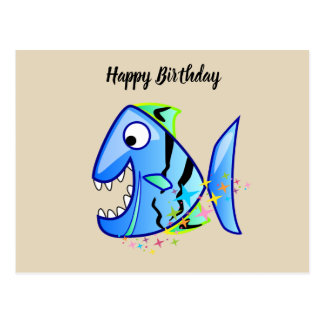 Blue Tropical Piranha with stars Postcard
