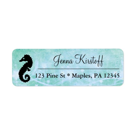 Blue Tropical Seahorse and Starfish Address Labels