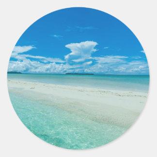 Blue tropical seascape, Palau Classic Round Sticker