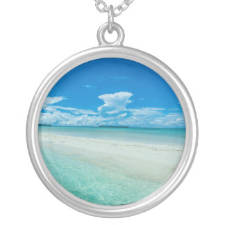 Blue tropical seascape, Palau Silver Plated Necklace
