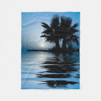 Blue Tropical Sunrise Small Fleece Blanket