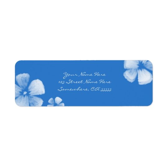 Blue Tropical Watercolor Flowers Address Labels