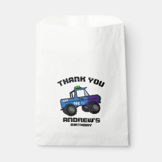 Blue Truck Birthday Monster Truck Favour Bag