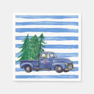 Blue Truck Christmas Napkins Custom Disposable Napkin