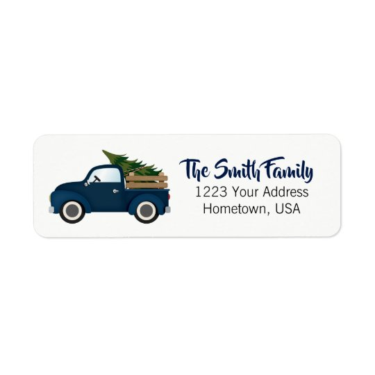 Blue Truck Christmas Tree Return Address Label