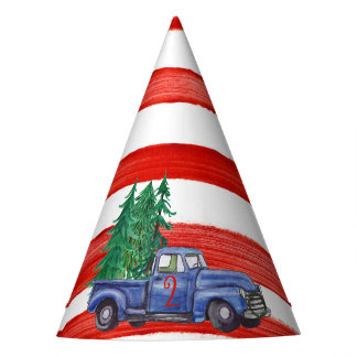 Blue Truck Hat - Red Stripe - Editable Age