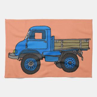 Blue truck tea towel