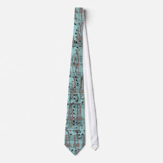 Blue Trumpet & Music Notes Tie