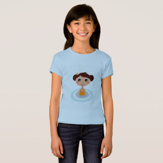 Blue tshirt with Swimming retro girl