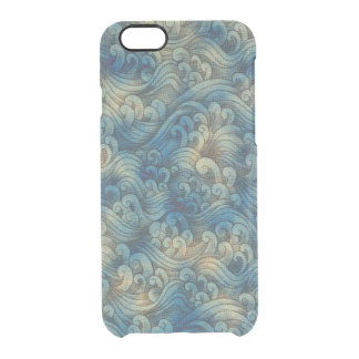 Blue Tsunami Ocean Tidal Waves Aged Water Color Clear iPhone 6/6S Case