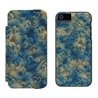 Blue Tsunami Ocean Tidal Waves Aged Water Color Incipio Watson™ iPhone 5 Wallet Case