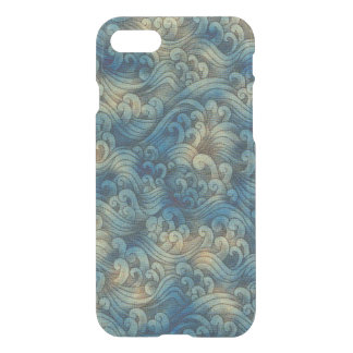 Blue Tsunami Ocean Tidal Waves Aged Water Color iPhone 7 Case