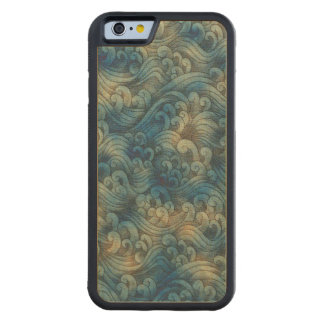 Blue Tsunami Ocean Tidal Waves Aged Water Color Maple iPhone 6 Bumper Case