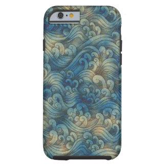 Blue Tsunami Ocean Tidal Waves Aged Water Color Tough iPhone 6 Case