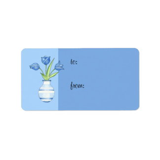 Blue Tulips blue Gift Tag Address Label
