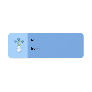 Blue Tulips blue small Gift Tag Return Address Label