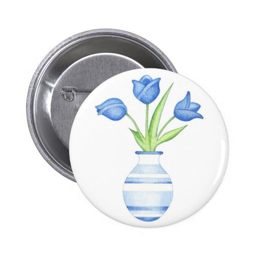 Blue Tulips Button