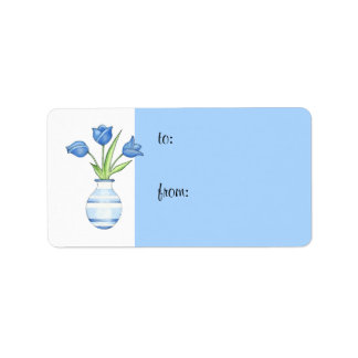 Blue Tulips Gift Tag Address Label