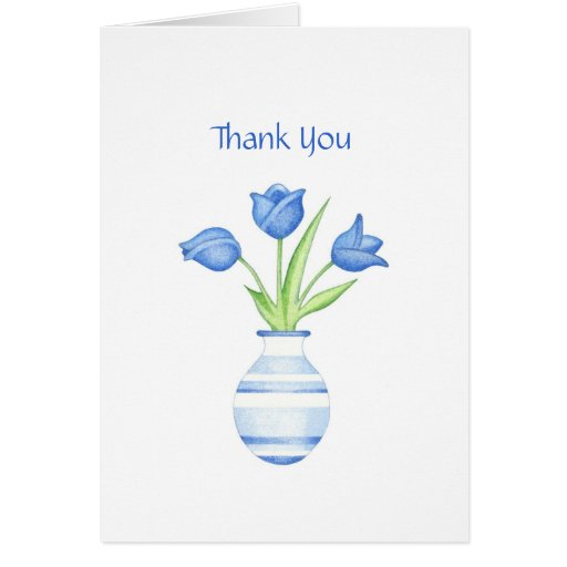 Blue Tulips Thank You Card