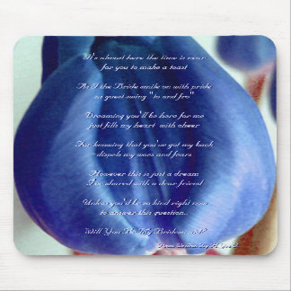 Blue Tulips Will You Be My Bridesmaid Mouse Pads