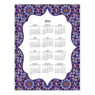 Blue Turkish Tile Pattern 2016 Calendar Postcard