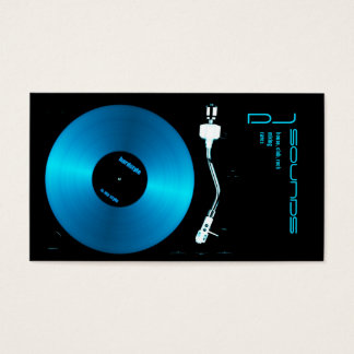 blue turntable dj business card