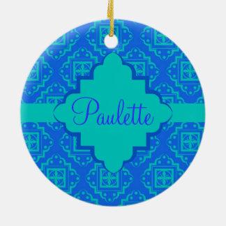 Blue & Turquoise Arabesque Moroccan Graphic Ceramic Ornament