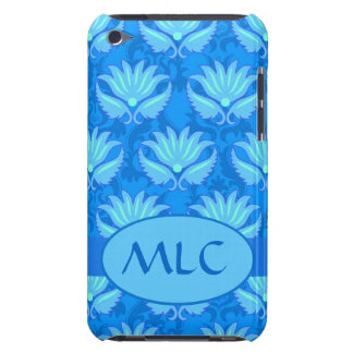 Blue Turquoise Art Nouveau Damask Monogram Barely There iPod Case