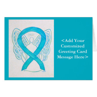 Blue Turquoise Awareness Ribbon Angel Cards