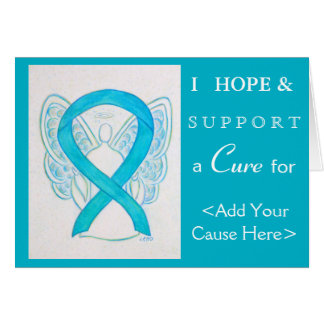 Blue Turquoise Awareness Ribbon Art Greeting Cards