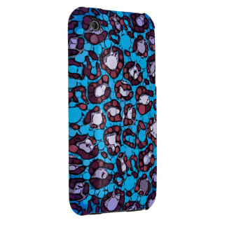 Blue Turquoise Cheetah Abstract Pattern iPhone 3 Covers