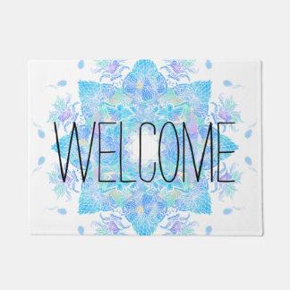 Blue turquoise floral watercolor handdrawn mandala doormat