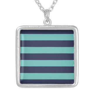Blue Turquoise Hipster Rugby Stripes Silver Plated Necklace