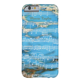 blue turquoise marble with musical notes barely there iPhone 6 case
