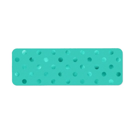 Blue Turquoise Metallic Faux Foil Polka Dot Aqua Return Address Label
